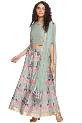 Womens Round Neck Embellished Top Skirt & Dupatta Set