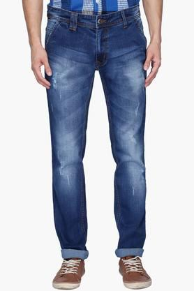 RS BY ROCKY STAR Mens 5 Pocket Heavy Wash Distressed Jeans