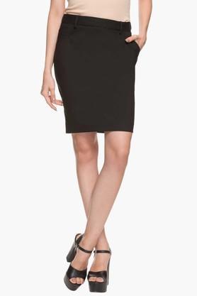 Womens Solid Knee Length Straight Skirt