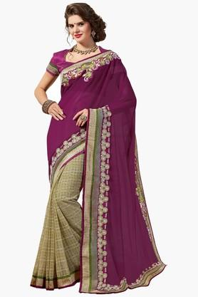 ASHIKA Womens Colour Block Resham Embroidered Saree - 201773740