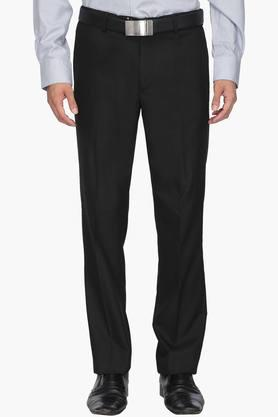 WILLS LIFESTYLE Mens Slim Fit 4 Pocket Solid Formal Trousers - 202270568