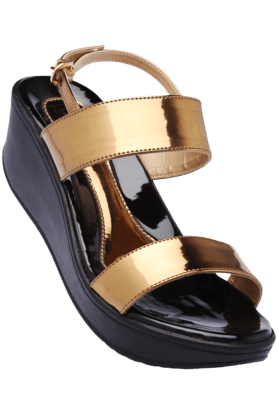 CATWALK Womens Bronze Party Wear Ankle Buckle Closure Wedge Sandal