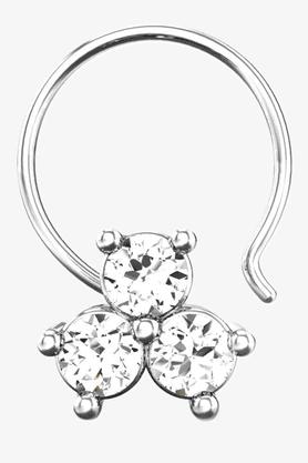 VELVETCASEWomens 18 Karat White Gold Nose Ring (Free Diamond Pendant) - 201065057