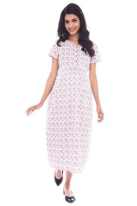 NINE MATERNITYNursing Dress In White Floral Print