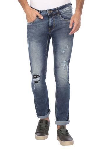 Mens Skinny Fit Mild Wash Distressed Jeans (Jackson Fit)
