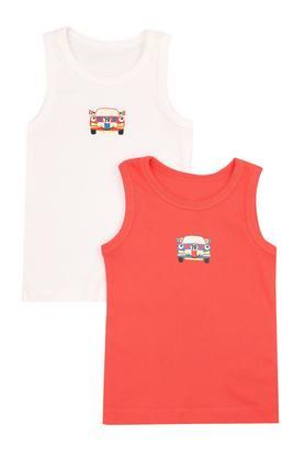 Boys Round Neck Printed Vest - Pack of 2