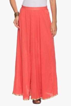 KASHISHWomens Solid Flared Long Skirt