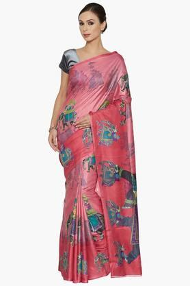 Women Mughal Print Art Silk Saree
