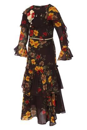 Girls Round Neck Floral Print Gown