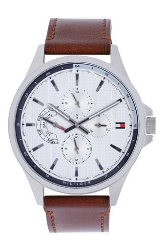 Mens White Dial Leather Multi-Function Watch - TH1791614