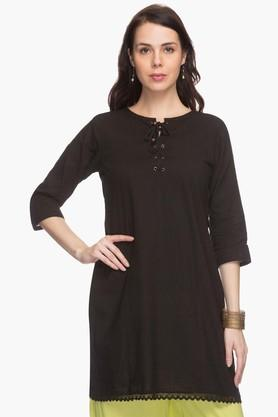 STOP Womens Tie-Up Neck Kurta