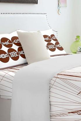 SPACESAtrium Plus Brown Cotton Double Bed Sheet With 2 Pillow Covers