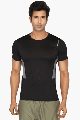 REEBOK Mens Round Neck Short Sleeves Solid T-Shirt