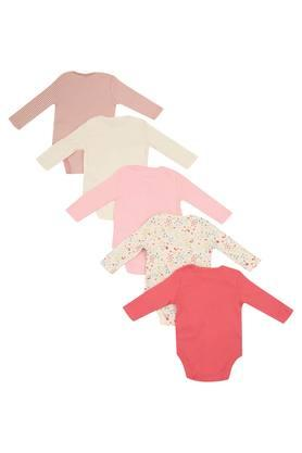 Kids Envelope Neck Printed Striped and Solid Bodysuit - Pack of 5
