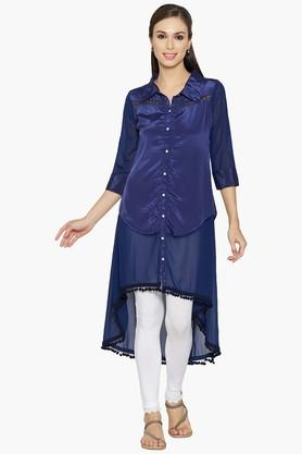 JASHNWomen Shirt Style Asymmetrical Crepe Kurta