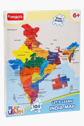 India Map Puzzle.Buy Funskool Unisex India Map Puzzle Board Game Shoppers Stop