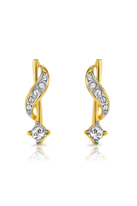 MAHI Mahi Gold Plated Sparkling Star Earrings With Crystals For Women ER1191724G