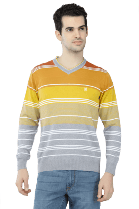 MONTE CARLO Mens Full Sleeves V Neck Slim Fit Stripe Sweatshirts