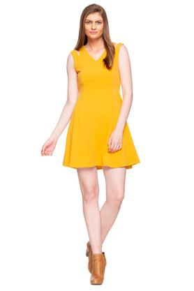 Womens V Neck Solid Skater Dress