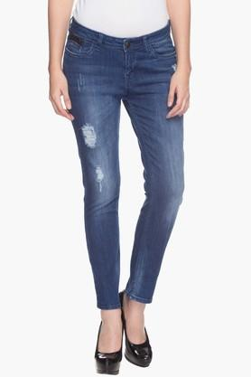 Womens Mid Rise Mild Wash Jeans