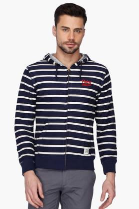 FLYING MACHINE Mens Stripe Hooded Sweatshirt