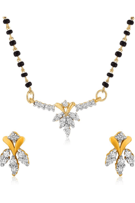 MAHI Mahi Daily Wear Fashion Mangalsutra Set Of Brass Alloy With CZ For Women NL1101405G