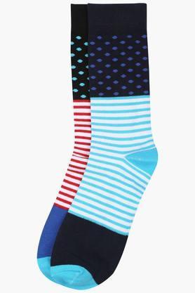 Mens Stripe Crew Length Socks Pack Of 2