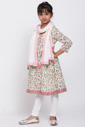 BIBA GIRLS - White Salwar Kurta Set - 2