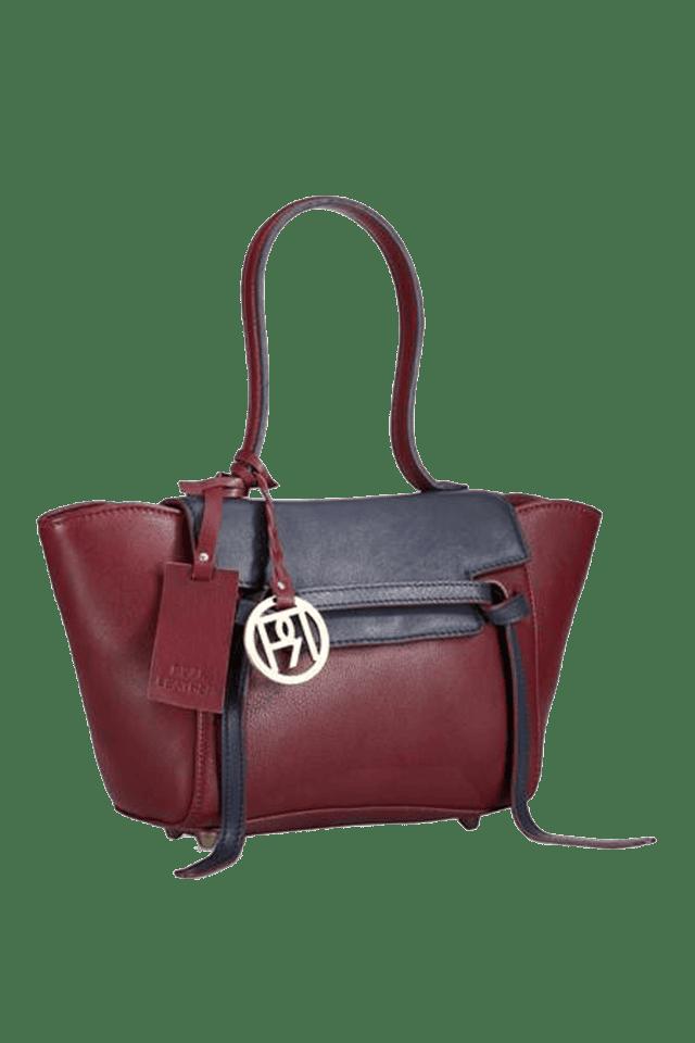 Womens Leather Zipper & Snap Closure Shoulder Bag