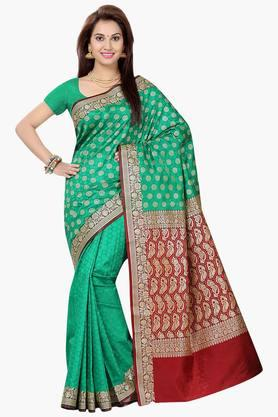 ISHIN Womens Cotton Brocade Banarasi Saree