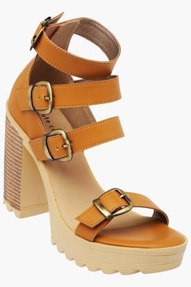 Womens Buckle Closure Synthetic Leather Heel Sandals