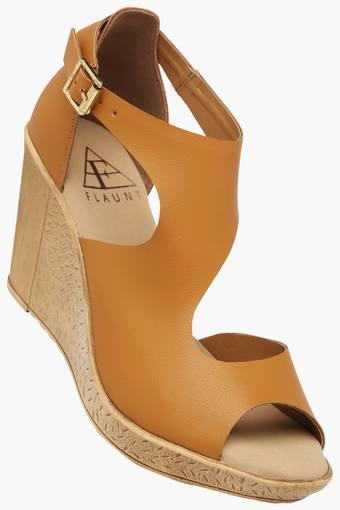 Womens Party Wear Ankle Buckle Closure Wedge Sandals