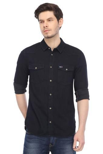 Mens 2 Pocket Solid Casual Shirt