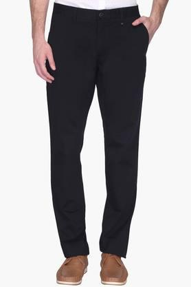 Mens Slim Fit 4 Pocket Solid Trousers ( Steven Tapered Fit) - 202009658