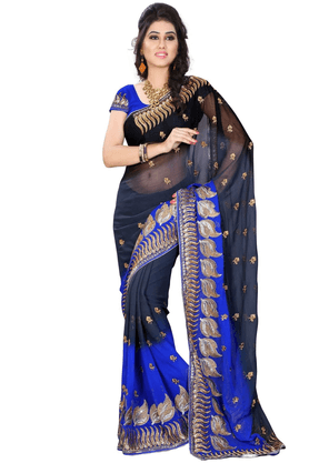 DEMARCA De Marca Black::Blue Georgette Designer DF-548B Saree