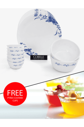 CORELLE India Impressions Royale 14 Pcs Dinner Set With Free Pyrex Custard Cups
