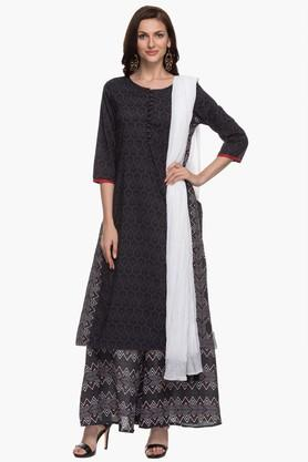 Womens Round Neck Printed Kurta, Skirt And Dupatta Set