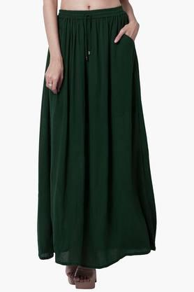 FABALLEY Womens Gathered Maxi Skirt  ...