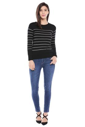 Womens Round Neck Stripe Knitted Top