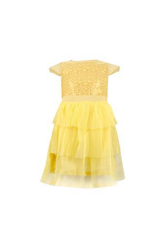 Girls Round Neck Embellished Tiered Dress
