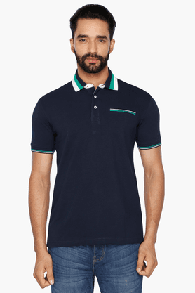 Mens Short Sleeves Slim Fit Solid Polo T-Shirt