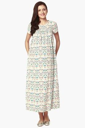 NINE MATERNITY Womens Round Neck Printed Night Dress