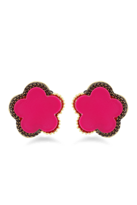 JAZZAntique & Traditional Style Red Color Flower Earrings For Womens