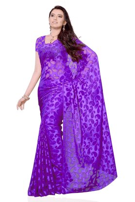 DEMARCA De Marca Purple Georgette Designer DF-104B Saree