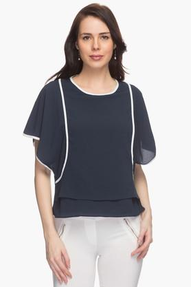 Womens Contrast-detailed Top