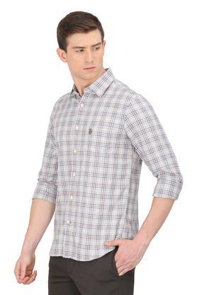 Mens Slim Collar Check Casual Shirt