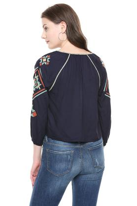 Womens Tie Up Neck Embroidered Crop Top