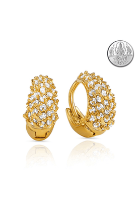 MAHICZ Collection Gold Plated CZ Stones Hoop Earrings For Women With Free Silver Laxmi Coin ER1100346GCI