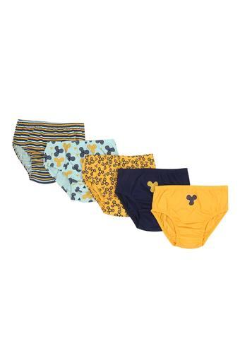 Girls Solid Printed and Striped Briefs - Pack of 5