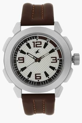 FASTRACKMens Silver Dial Leather Strap Watch